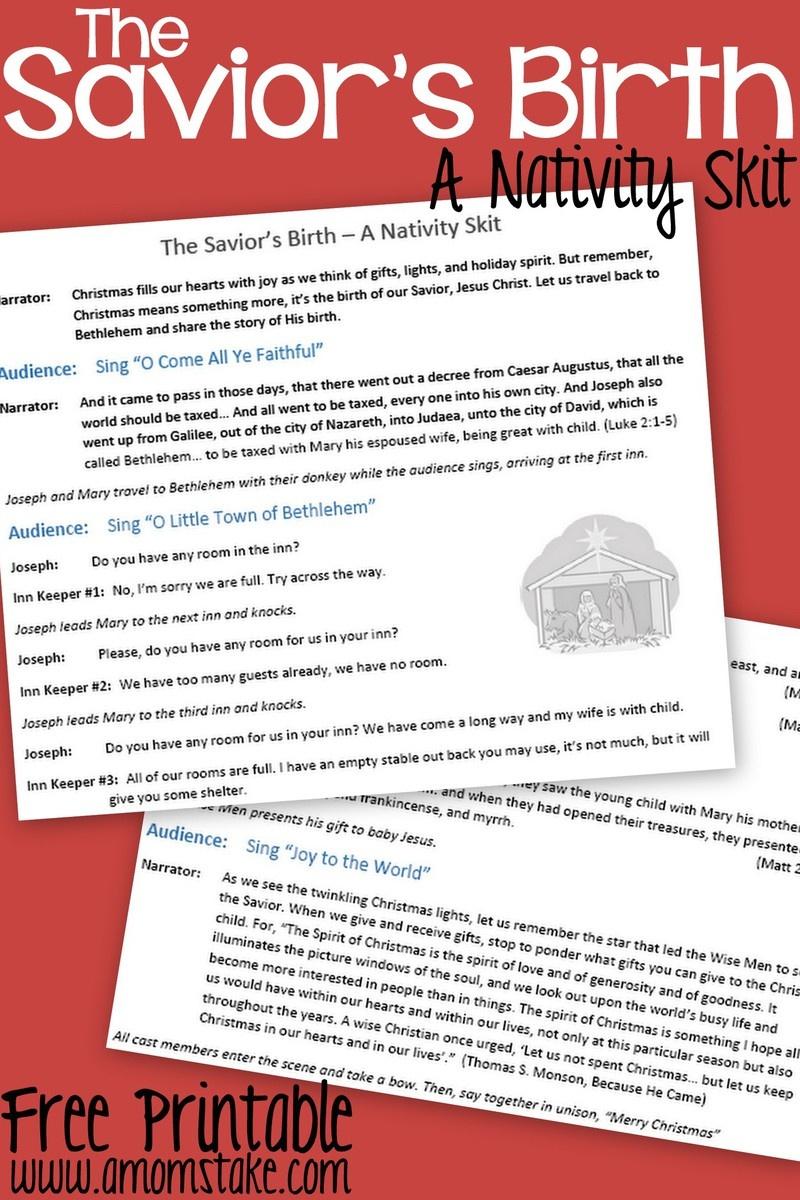 The Savior's Birth: A Nativity Skit Script With Music – Free - Free Printable Halloween Play Scripts