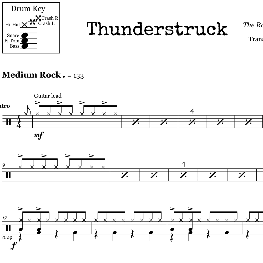 Thunderstruck – Acdc – Drum Sheet Music – Onlinedrummer - Free Printable Drum Sheet Music