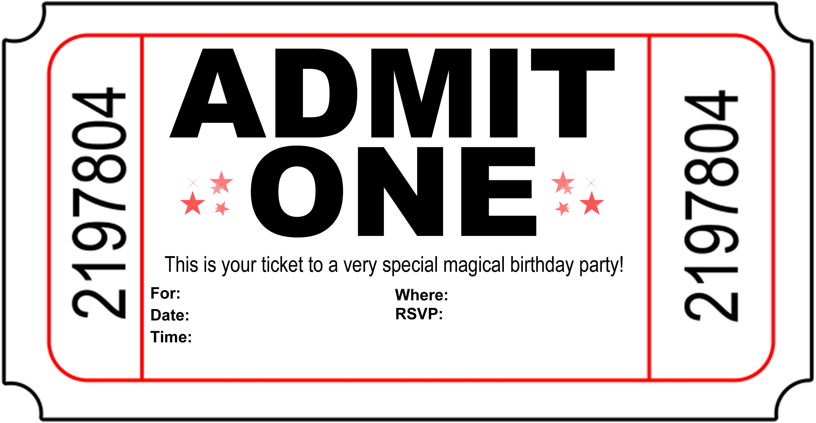 Ticket Party Invitation Template - Tutlin.psstech.co - Free Printable Ticket Invitations