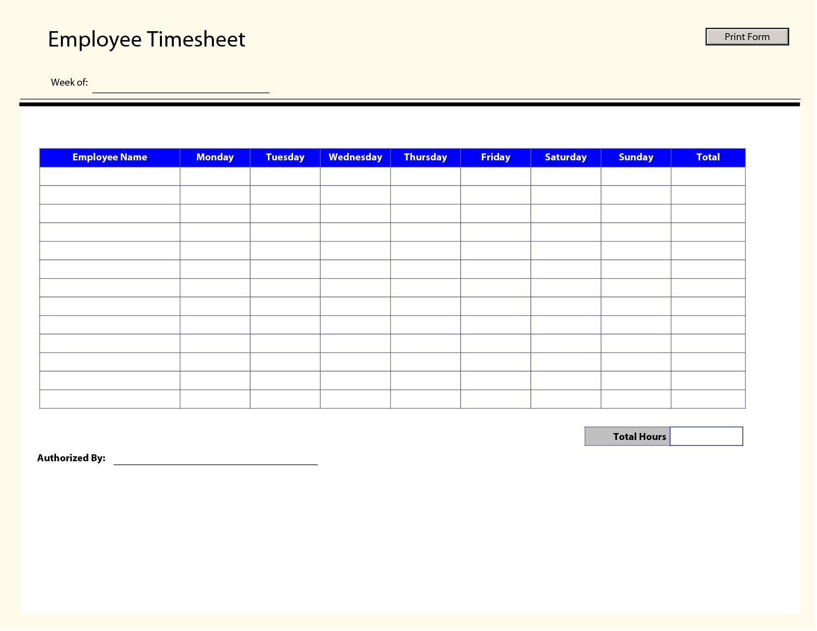 Timesheet Template Free Printable | Rota Template - Monthly Timesheet Template Free Printable