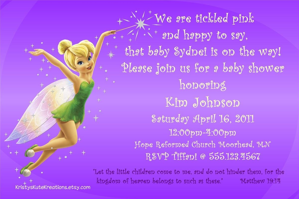 Tinkerbell Baby Shower Invitations Printable • Baby Showers Design - Free Printable Tinkerbell Baby Shower Invitations