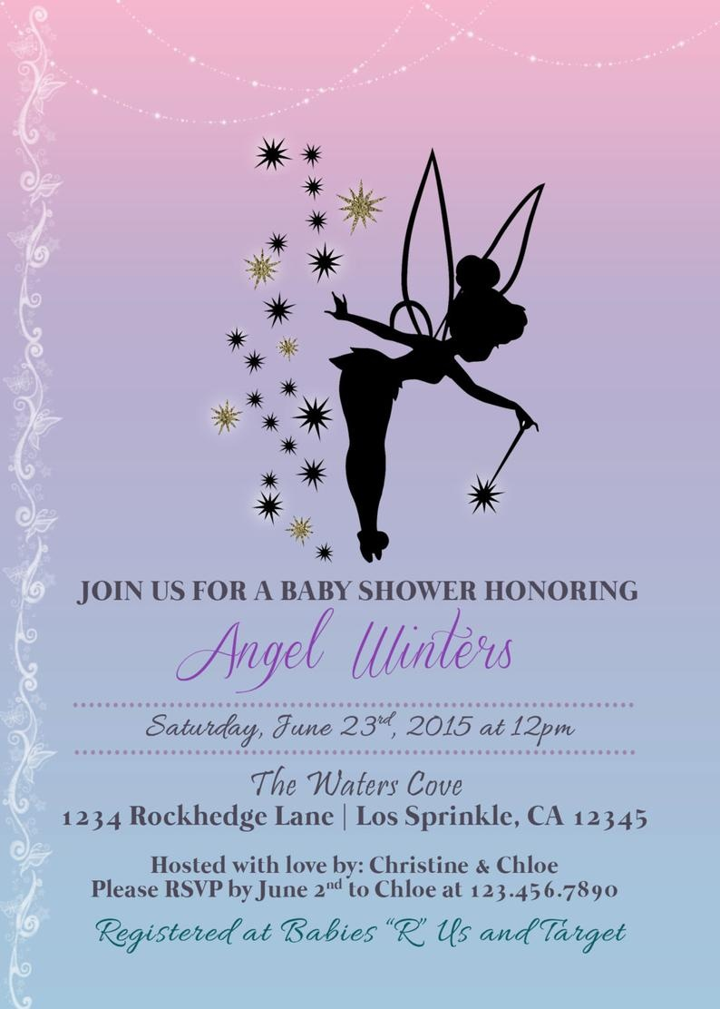 Tinkerbell Inspired Baby Shower Invitation Printable Baby | Etsy - Free Printable Tinkerbell Baby Shower Invitations