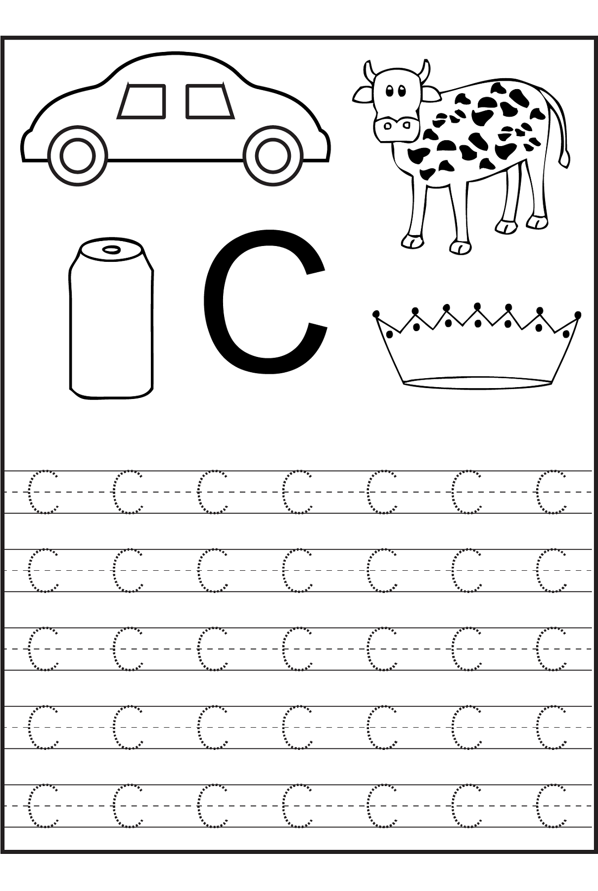 Trace The Letter C Worksheets | Alphabet And Numbers Learning - Free Printable Preschool Worksheets Letter C