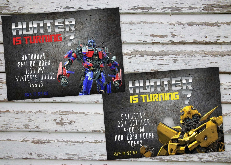 Transformers Birthday Party Invitation Optimus Prime | Etsy - Transformers Party Invitations Free Printable