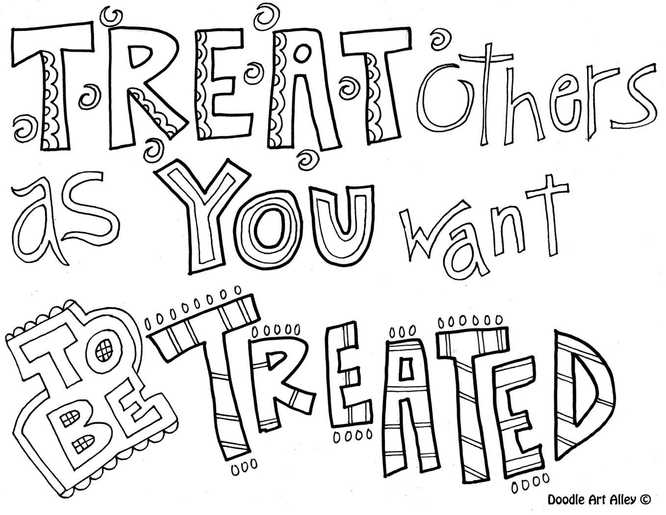 Treat Others As You Want To Be Treated | Coloring Pages For Older - Free Printable Coloring Pages On Respect