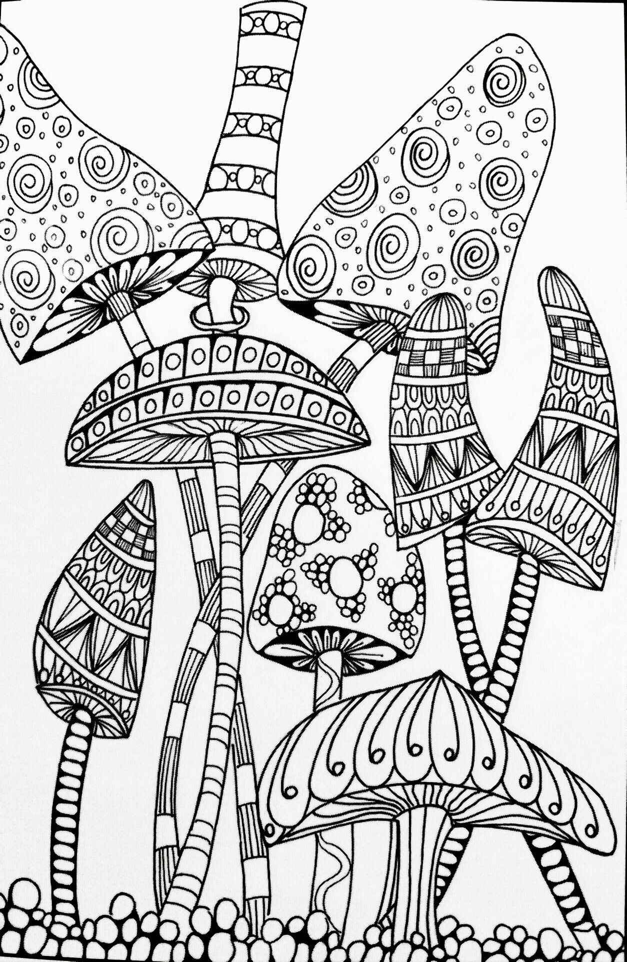 Trippy Mushroom Coloring Pages Free | Free Coloring Books - Free Printable Mushroom Coloring Pages