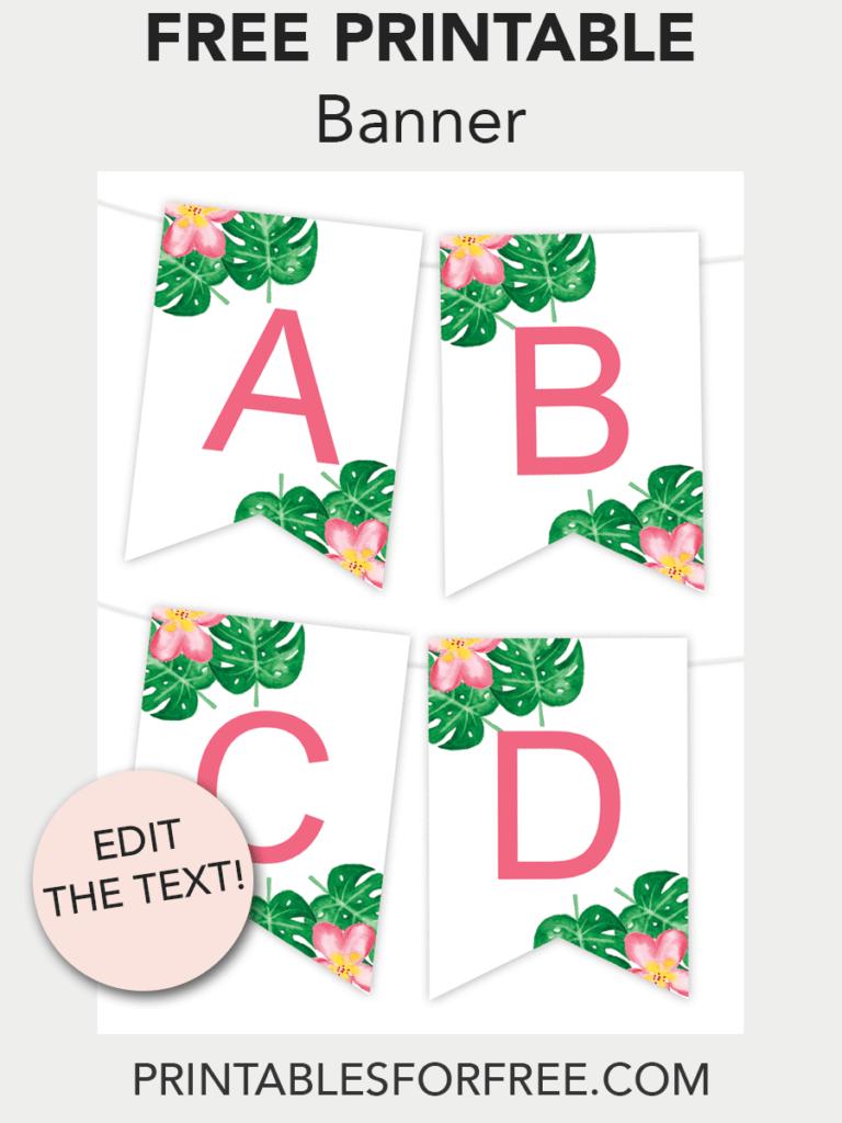 Tropical Printable Banner | Free Printables - Free Printable Wall - Free Printable Banner Maker