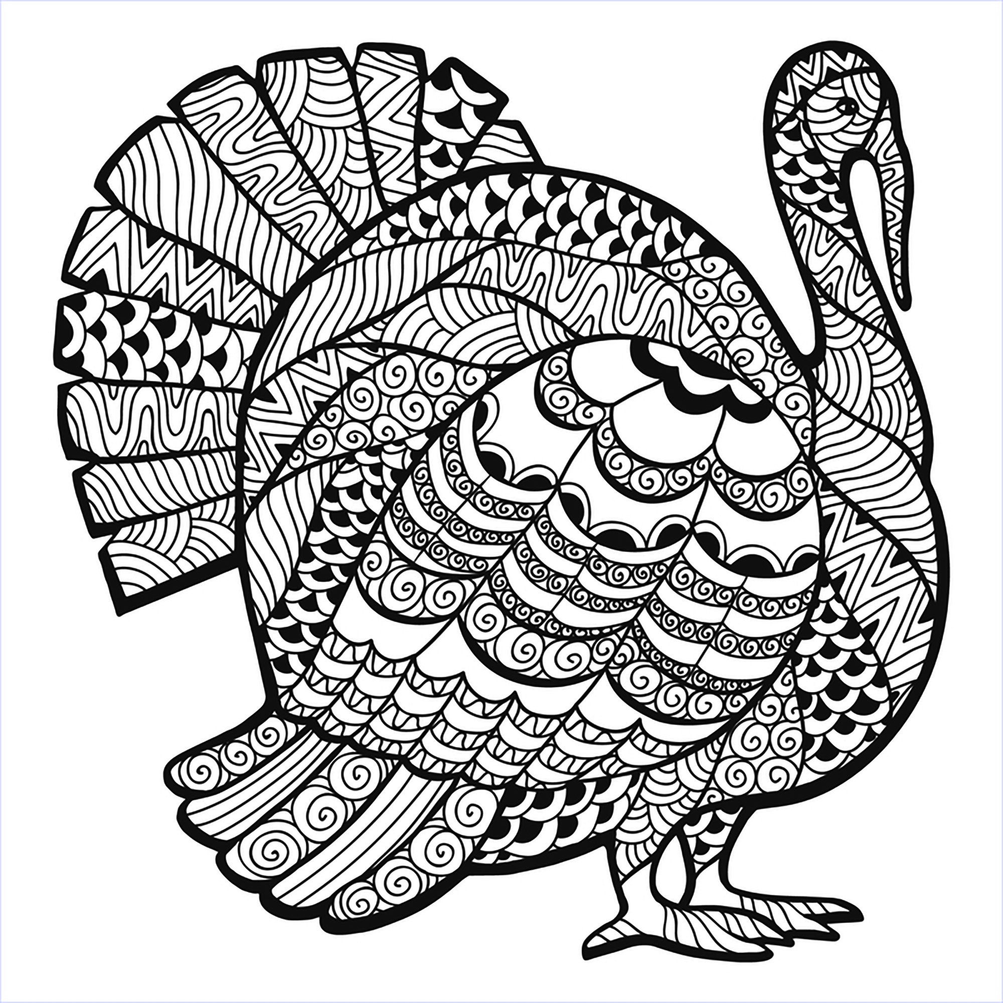 Turkey Zentangle Coloring Sheet - Thanksgiving Adult Coloring Pages - Free Printable Turkey Coloring Pages