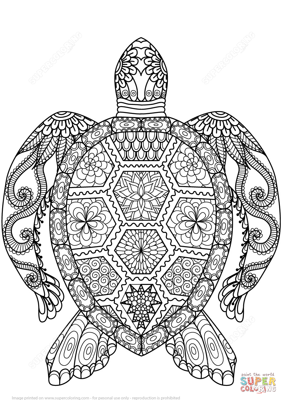 Turtle Zentangle Coloring Page   Free Printable Coloring Pages - Free Printable Zen Coloring Pages