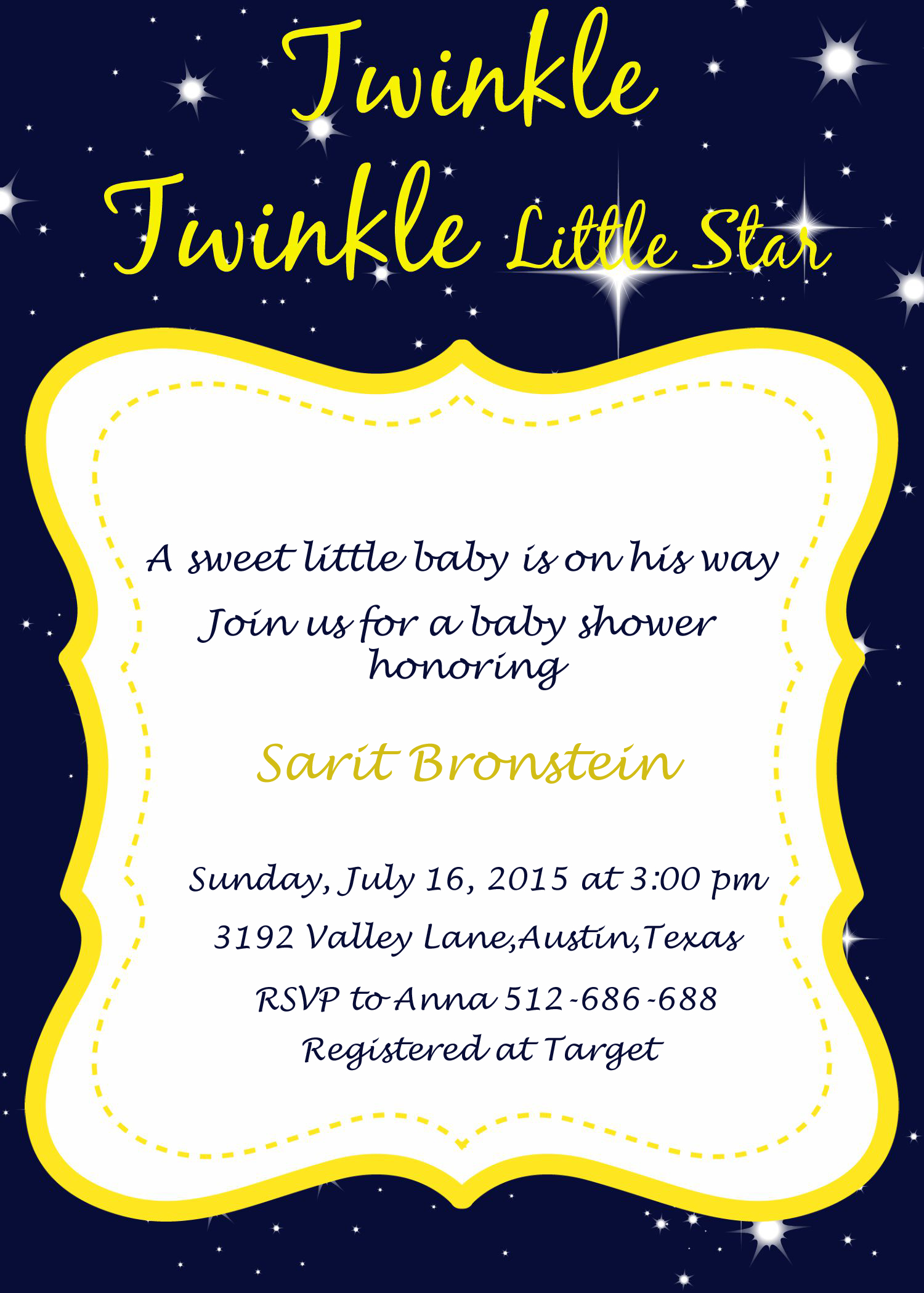 Twinkle Twinkle Baby Shower Ideas - My Practical Baby Shower Guide - Free Printable Twinkle Twinkle Little Star Baby Shower Invitations