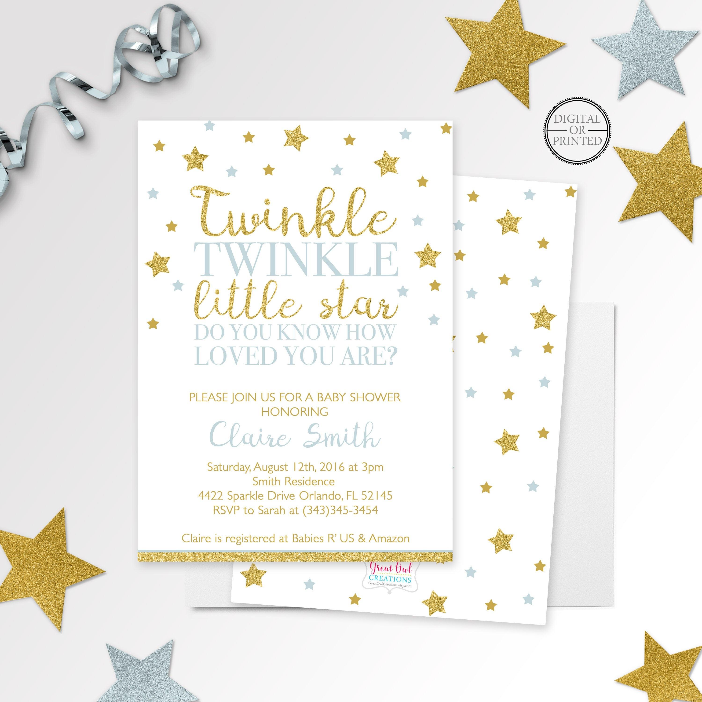 Twinkle Twinkle Little Star Baby Shower Invitation Printed Or   Etsy - Free Printable Twinkle Twinkle Little Star Baby Shower Invitations