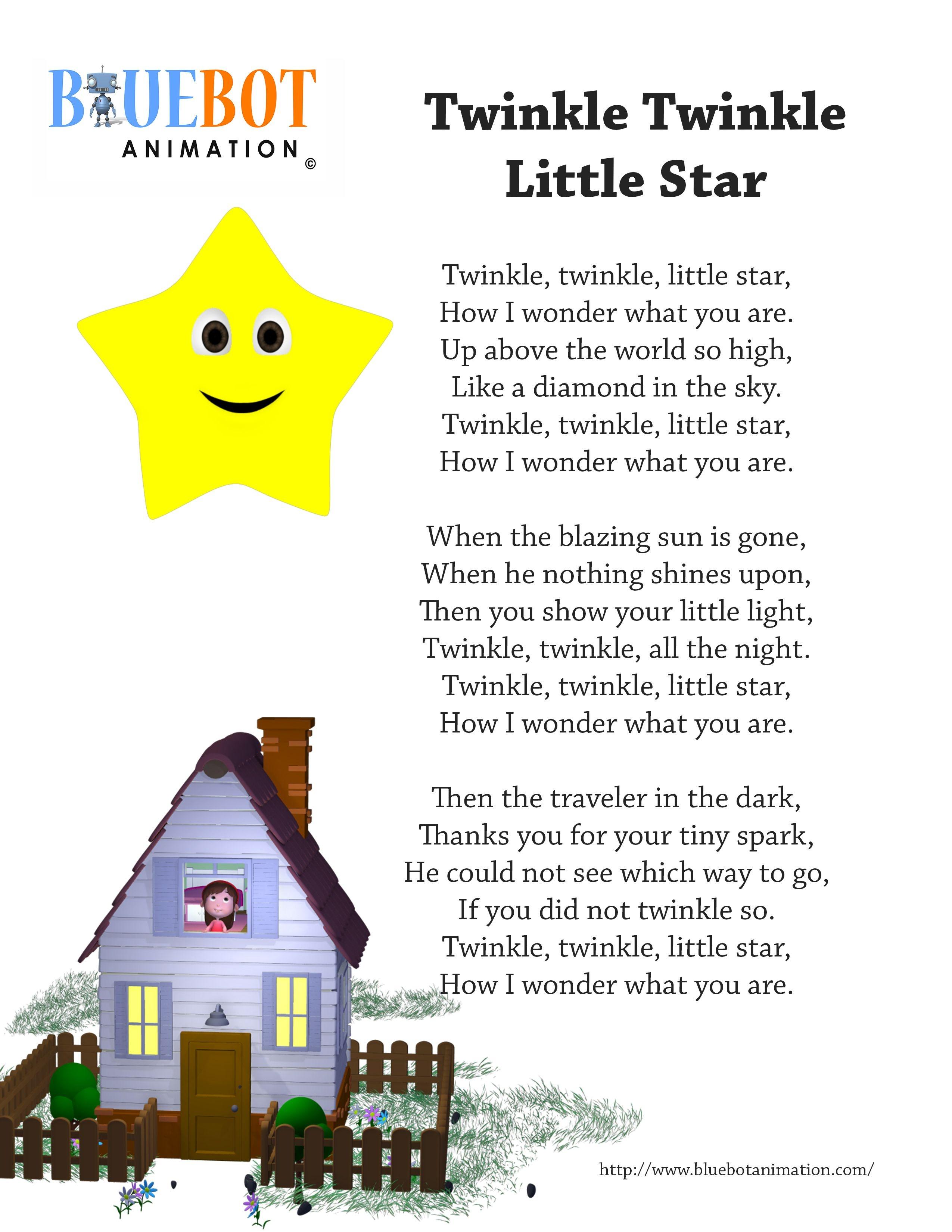 Twinkle Twinkle Little Star Nursery Rhyme Lyrics Free Printable - Free Printable Nursery Rhymes Songs