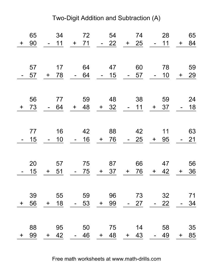 Two-Digit (A) Combined Addition And Subtraction Worksheet | Addition - Free Printable Addition And Subtraction Worksheets