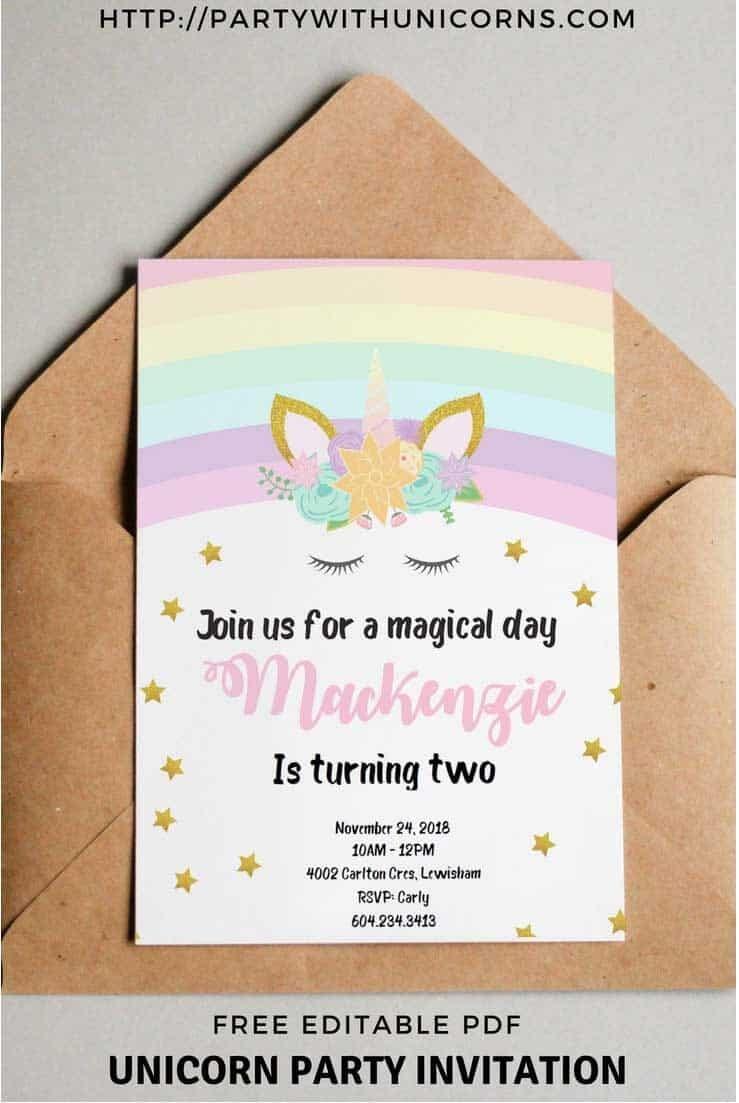 Unicorn Birthday Invitations - Free Printable * Party With Unicorns - Free Printable Unicorn Birthday Invitations