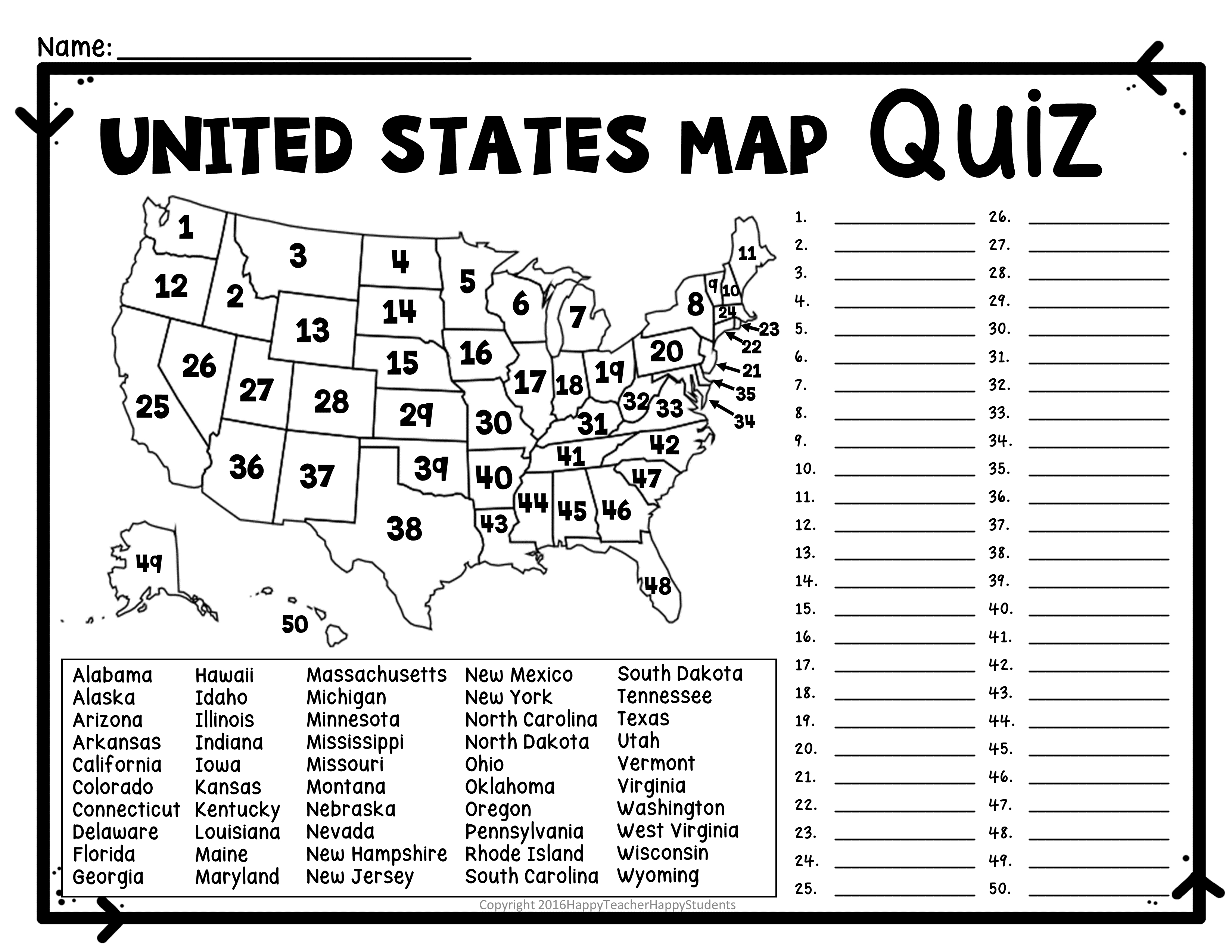 United States Map Quiz & Worksheet: Usa Map Test With Practice - Free Printable States And Capitals Worksheets