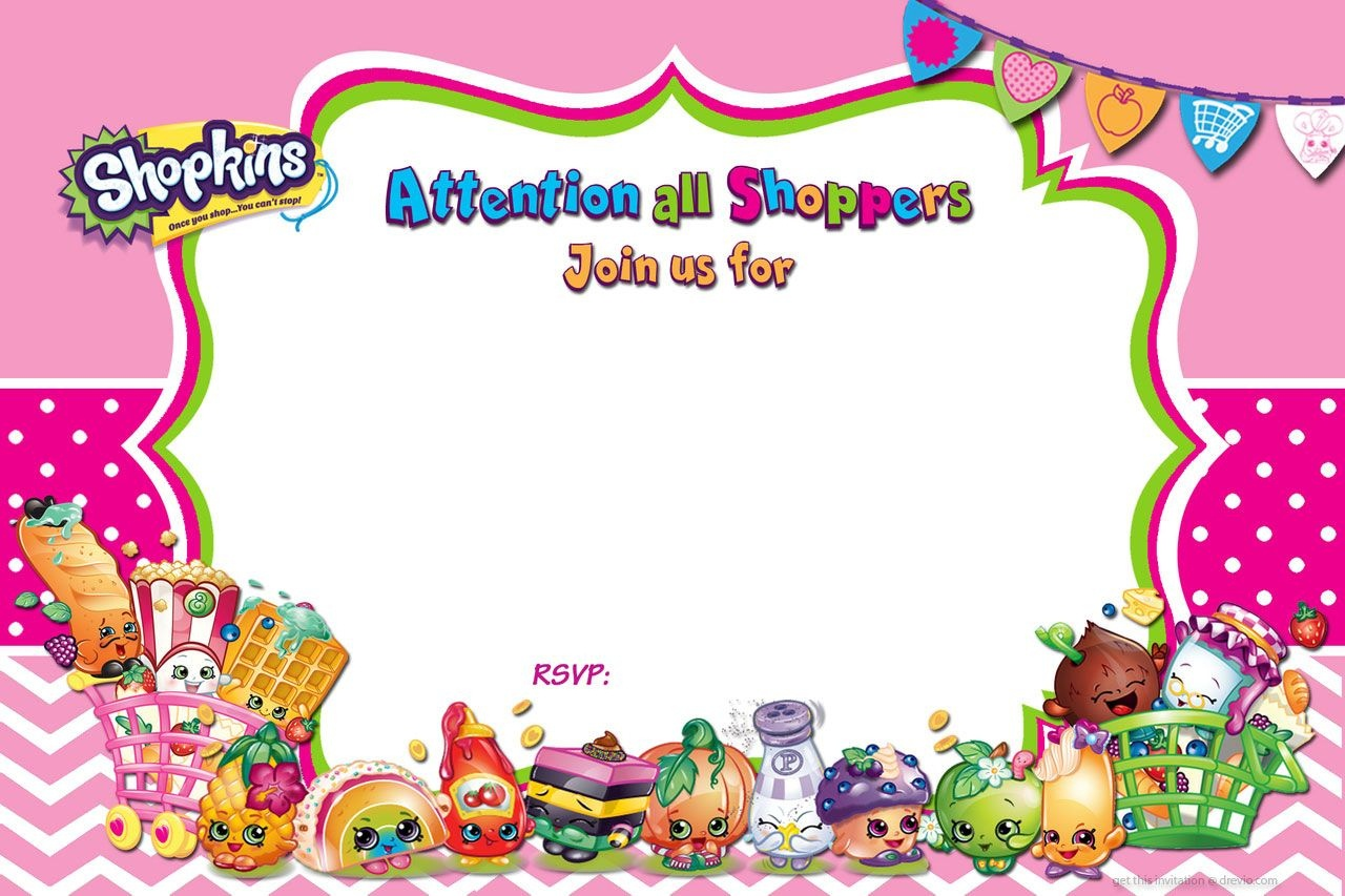 Updated - Free Printable Shopkins Birthday Invitation | Free - Shopkins Banner Printable Free