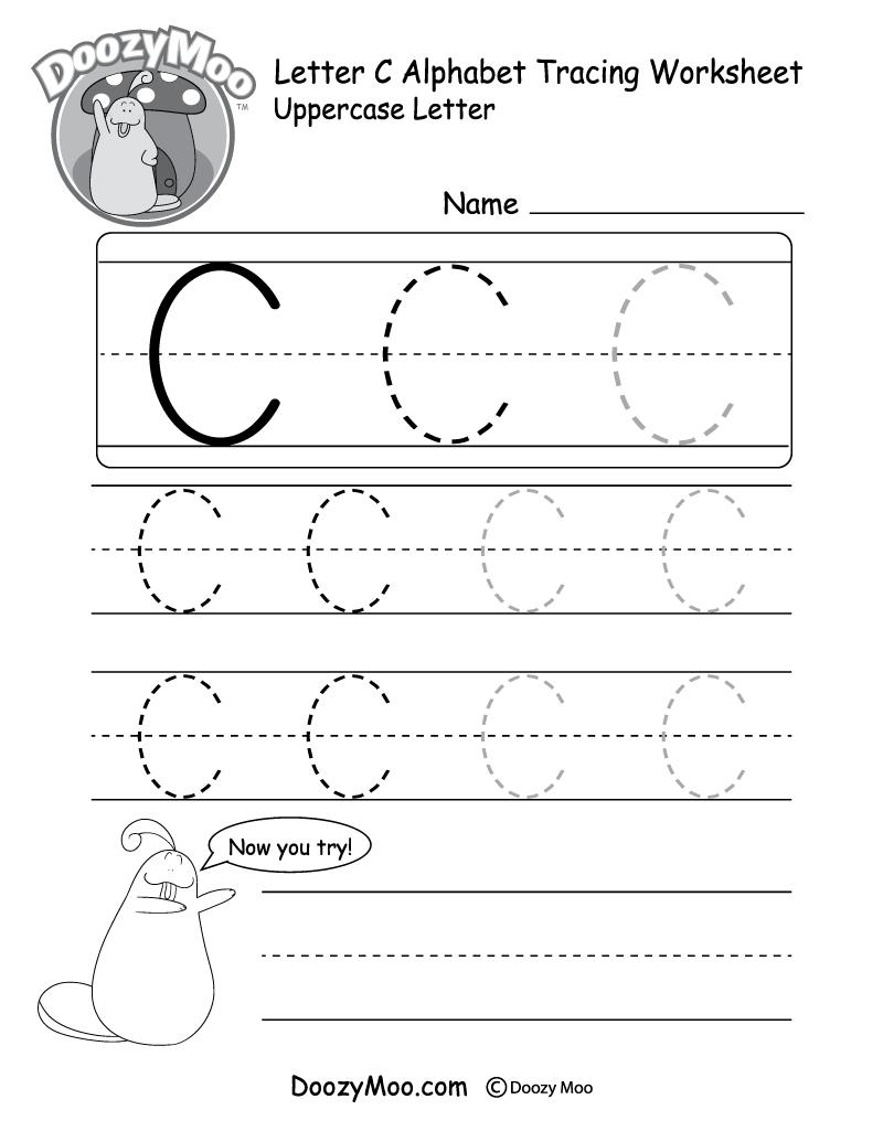 Uppercase Letter C Tracing Worksheet - Doozy Moo - Free Printable Letter C Worksheets