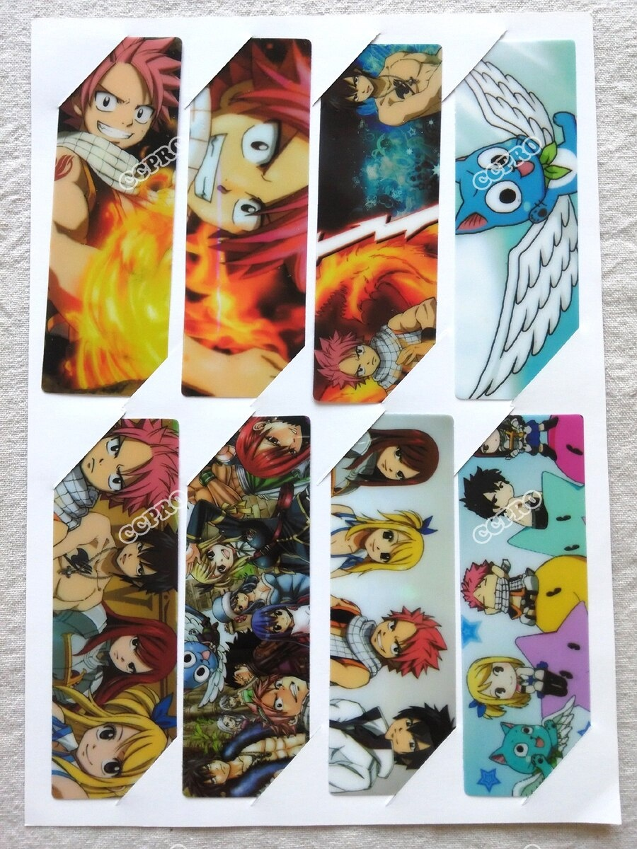 Us $2.0 |8Pcs/set Pvc Anime Bookmarks Printed With Anime Fairy Tail  Natsu/lucy/gray/elza/happy-In Bookmark From Office & School Supplies On - Anime Bookmarks Printable For Free