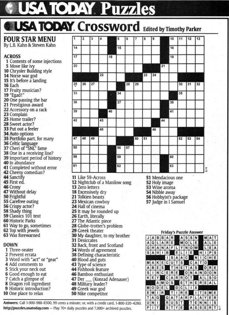 Usa Today Printable Crossword | Freepsychiclovereadings In Usa Today - Free Printable Crosswords Usa Today