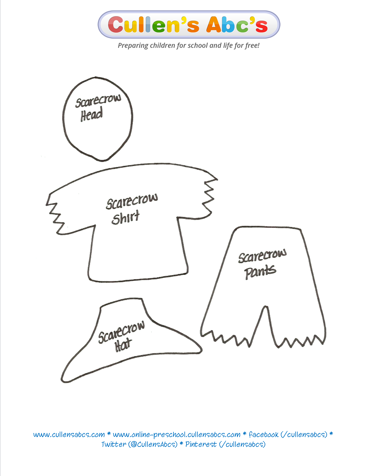 Use This Scarecrow Pattern To Print Out And Cut Out. I Would Cut Out - Free Scarecrow Template Printable