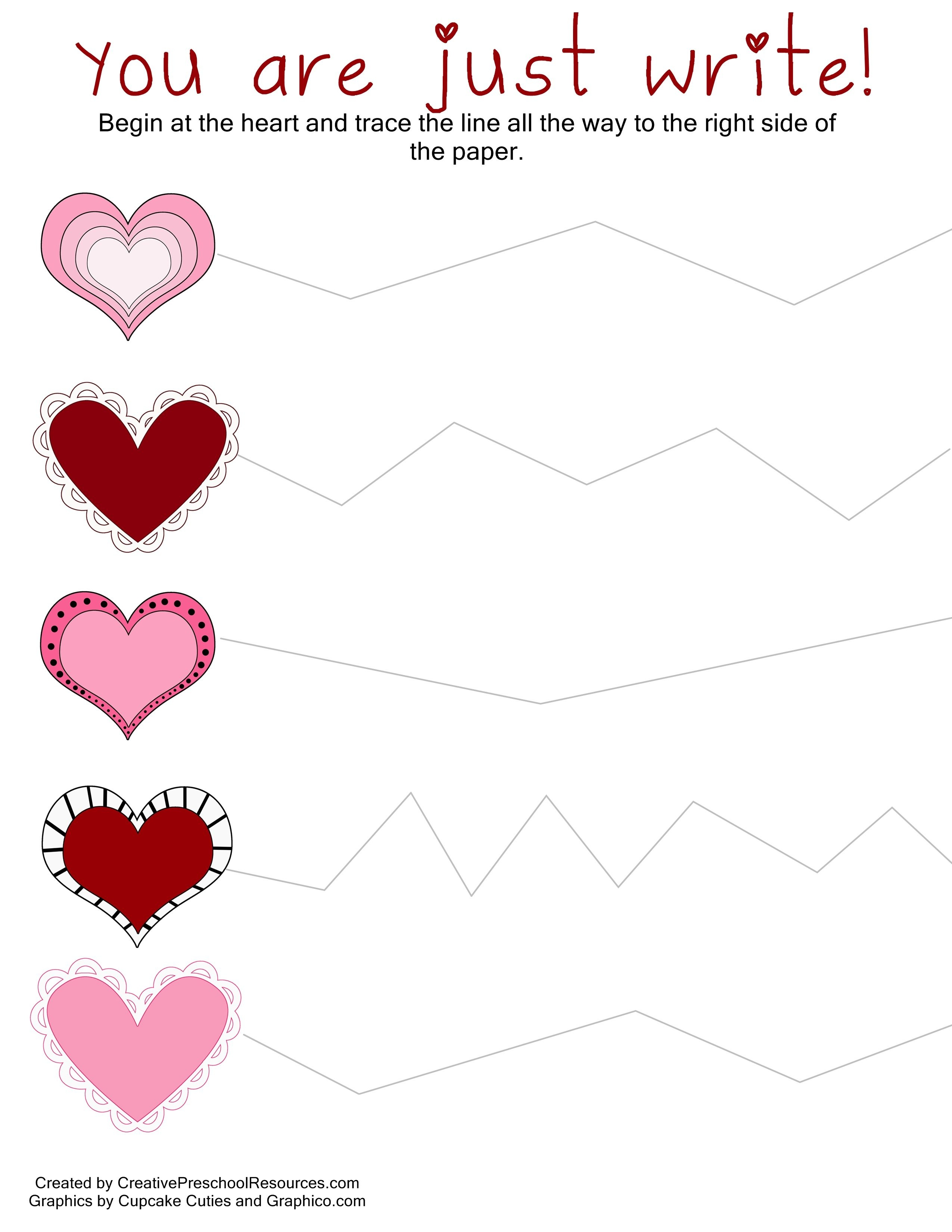 Valentine Trace & Cut Printables | I Heart You!!! | Preschool - Free Printable Preschool Valentine Worksheets