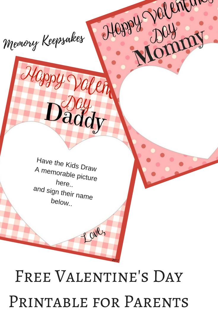 Valentine's Day Memory Keepsake Printable Cards For Parents - Free Printable Valentines Day Cards For Parents