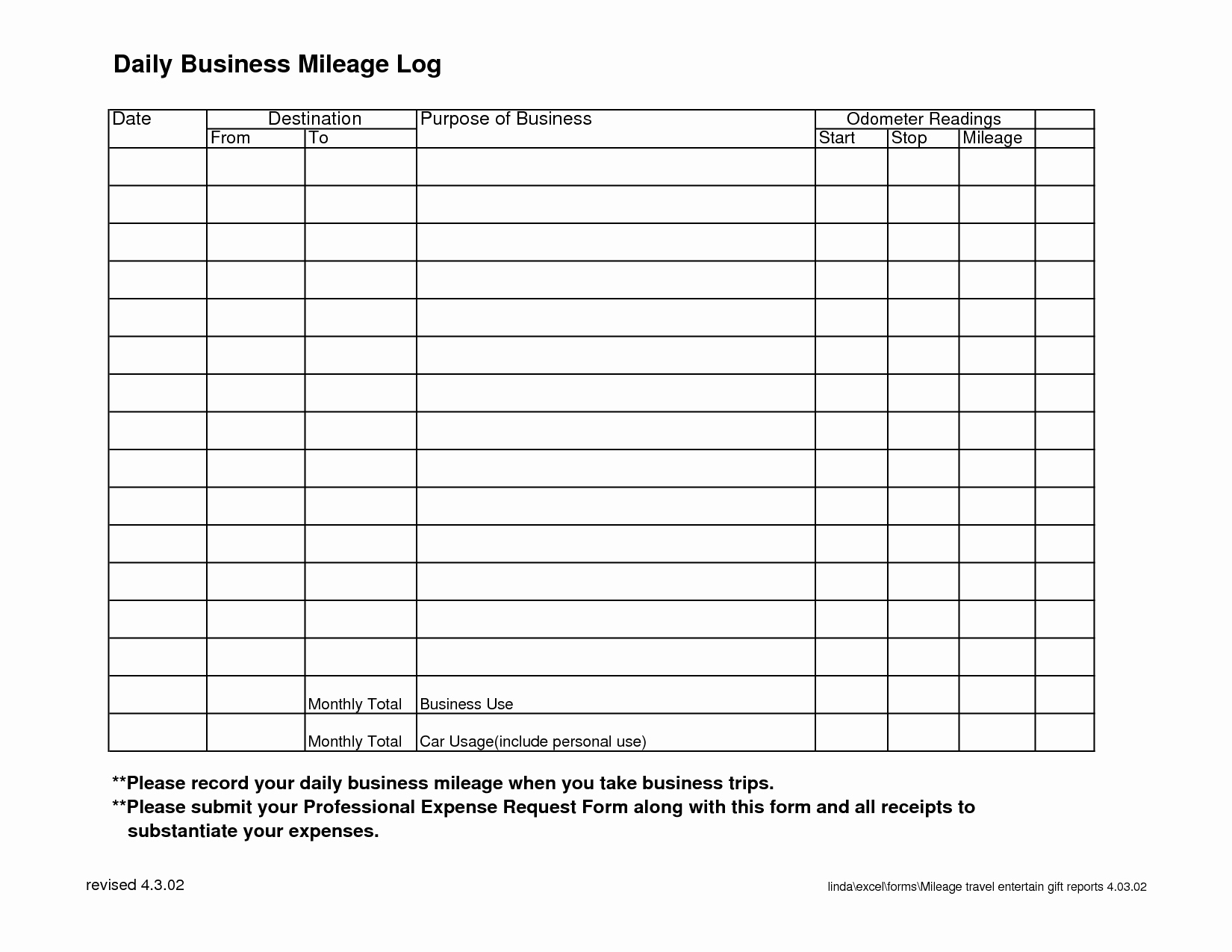 Vehicle Mileage Log Template | Pictimilitude - Free Printable Mileage Log
