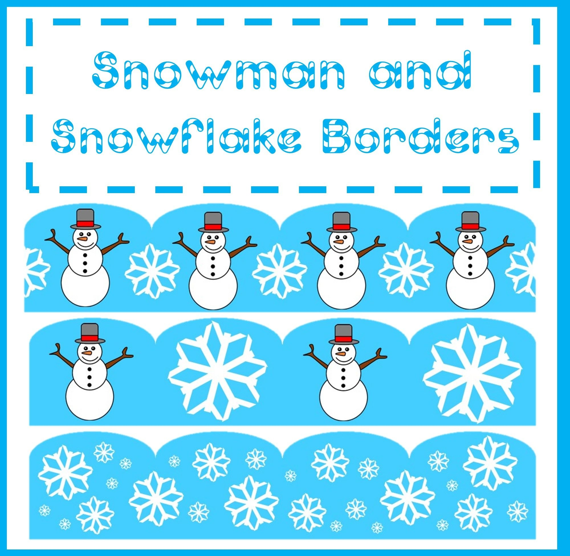Very Cute Christmas Snowman And Snowflake Borders! Make Any Bulletin - Free Printable Christmas Bulletin Board Borders