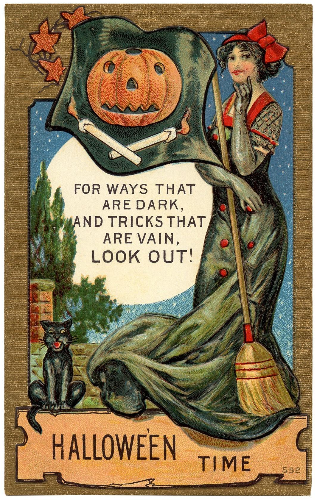 Vintage Halloween Postcard Image - The Graphics Fairy - Free Printable Vintage Halloween Images
