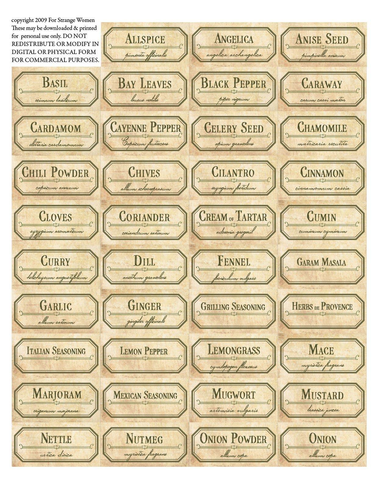 Vintage Spice Jar Labels. Free Printable Label Templates. | Spice - Free Printable Herb Labels