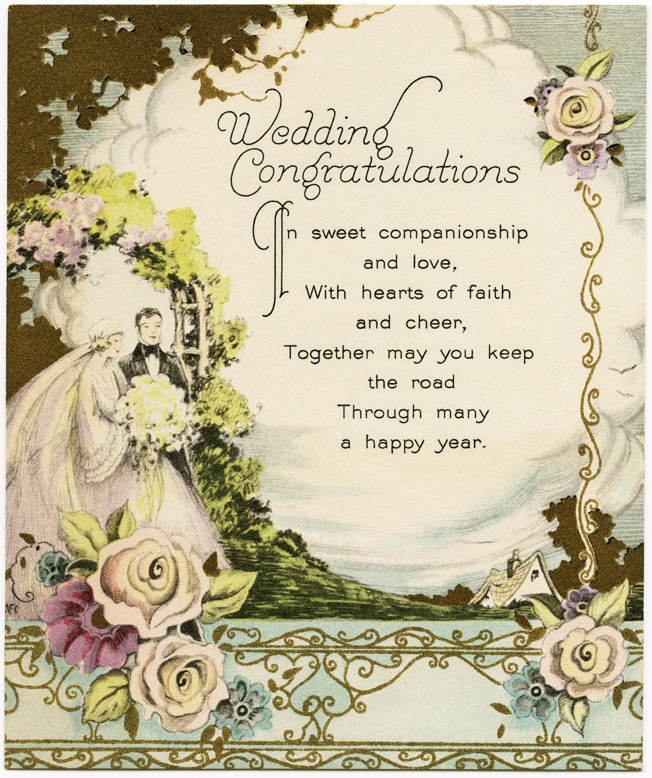 Vintage Wedding Congratulations - Old Design Shop Blog - Wedding Wish Cards Printable Free