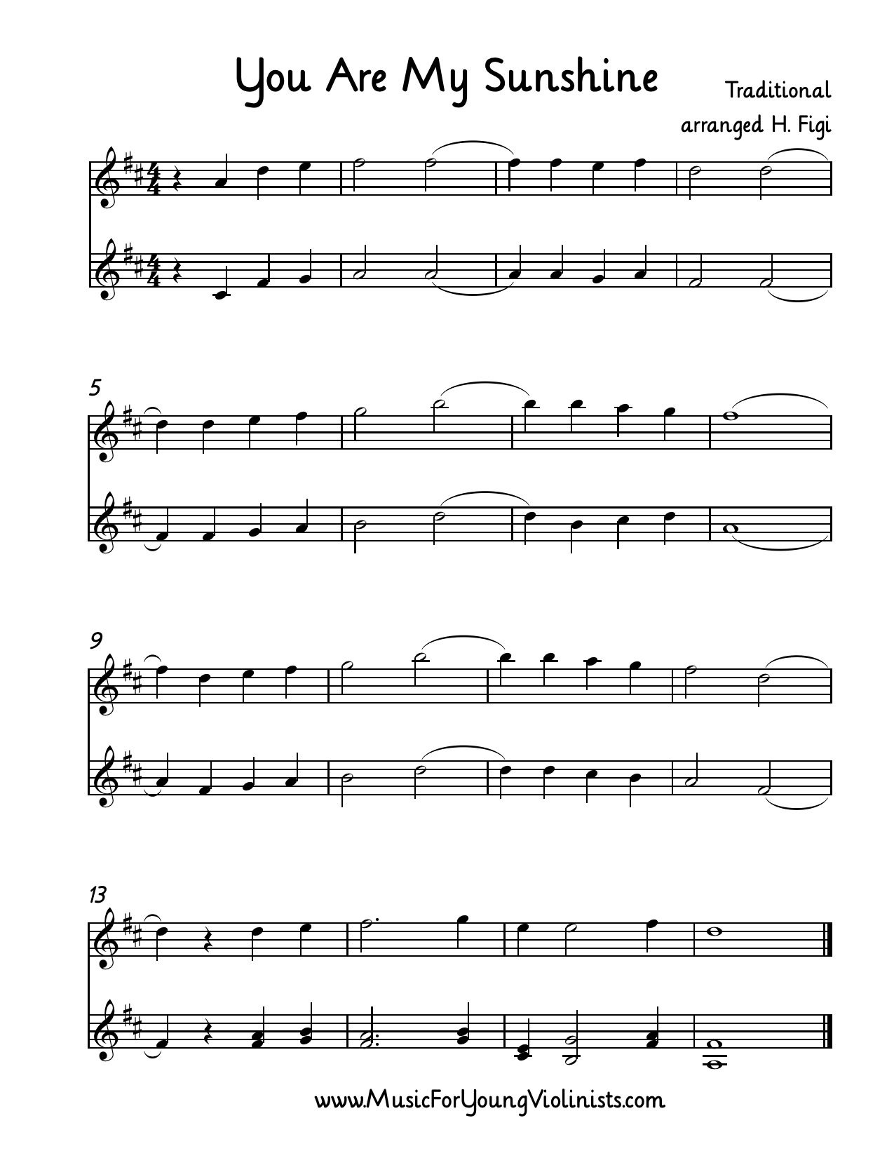 Violin Sheet Music: You Are My Sunshine Arranged For 2 Violins - Free Printable Piano Sheet Music For You Are My Sunshine