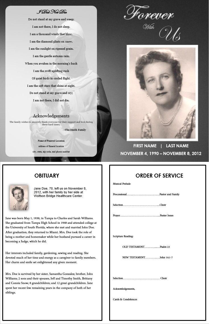 Virgin Mary Memorial Program   Funeral   Memorial Service Program - Free Printable Funeral Program Template