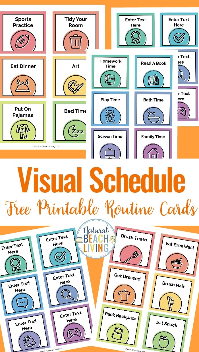 Visual Schedule - Free Printable Routine Cards - Natural Beach Living - Free Printable Picture Schedule Cards