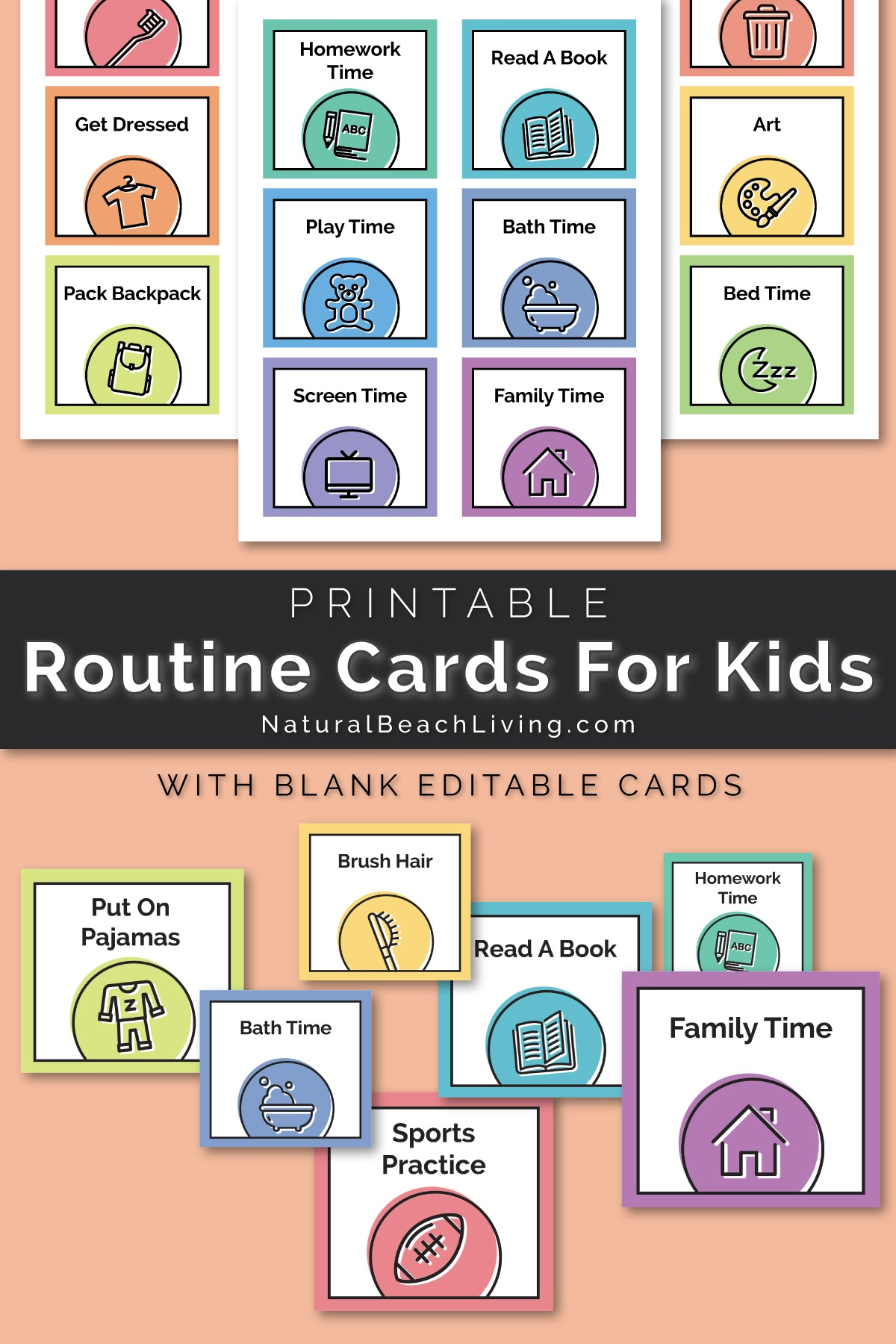Visual Schedule - Free Printable Routine Cards - Natural Beach Living - Free Printable Schedule Cards