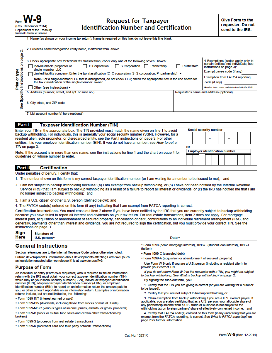 W-9 Request For Taxpayer Identification Number And Certification Pdf - W9 Free Printable Form 2016