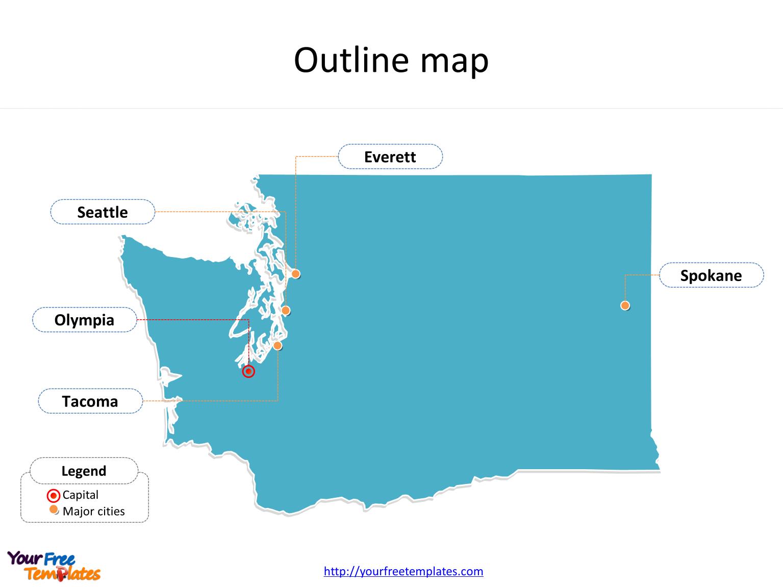Washington Map Powerpoint Templates - Free Powerpoint Templates - Free Printable Map Of Washington State