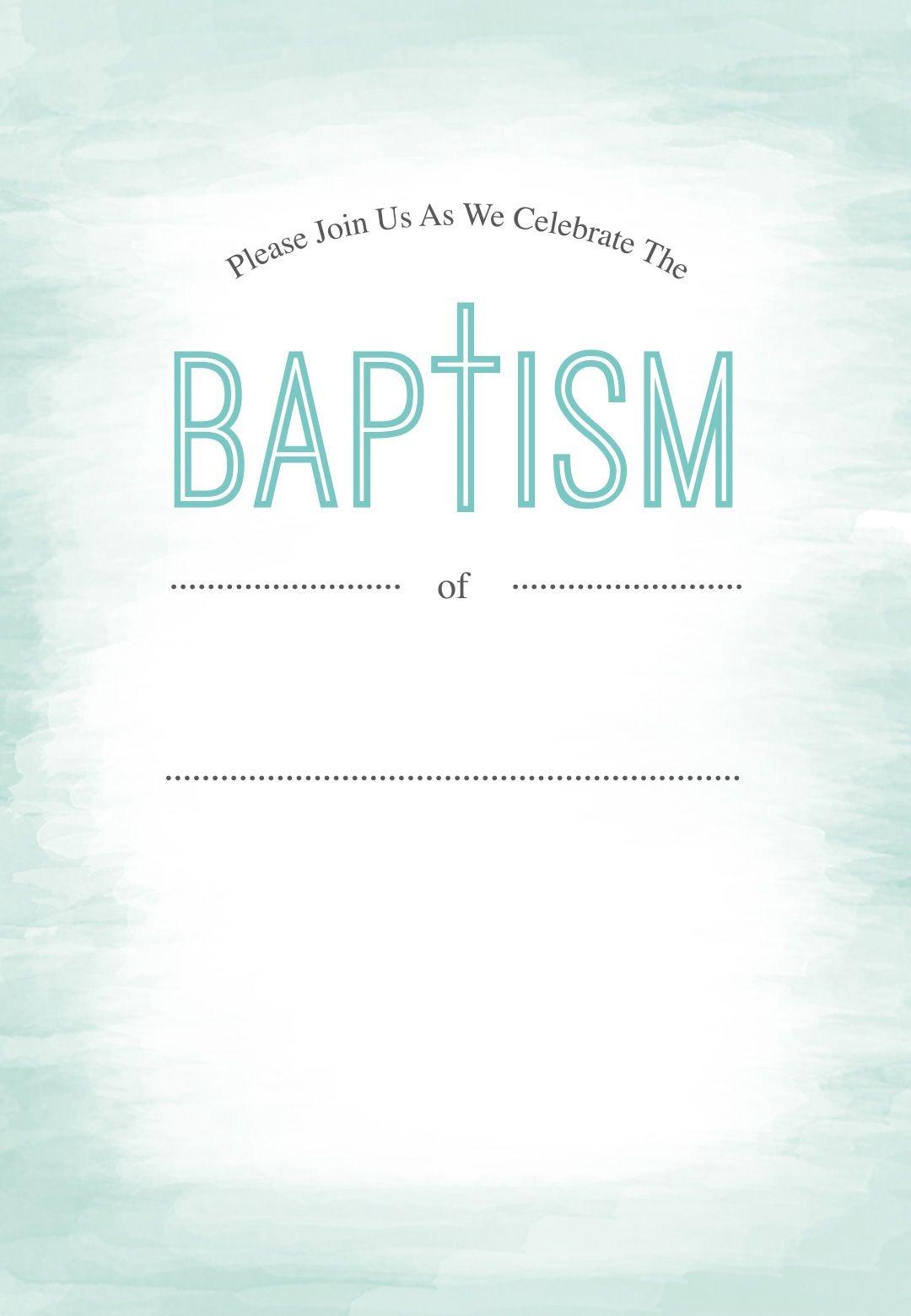 Water - Free Printable Baptism & Christening Invitation Template - Free Printable Baptism Invitations
