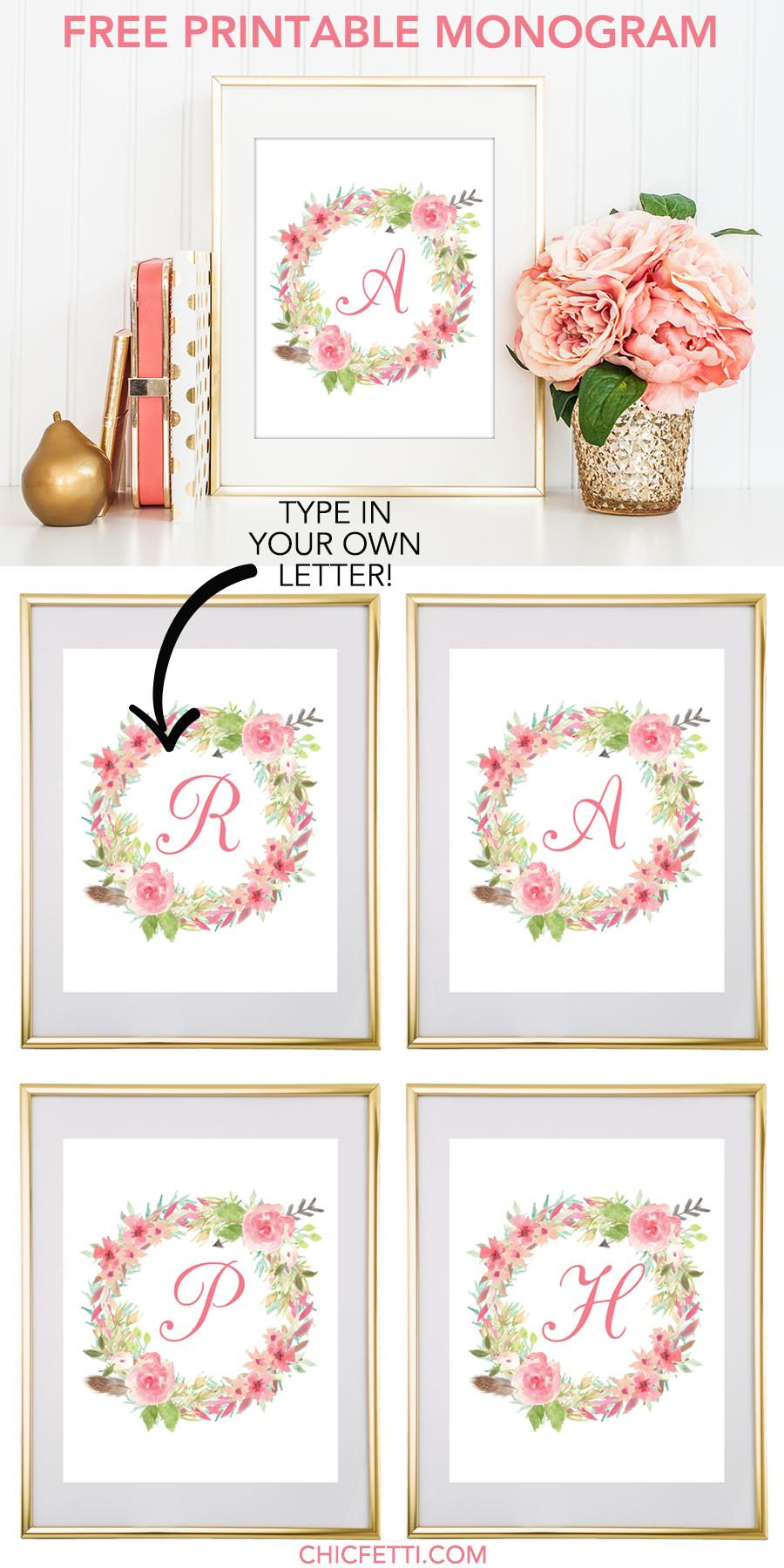 Watercolor Floral Wreath Monogram Maker | Free Printable Monograms - Free Printable Monogram