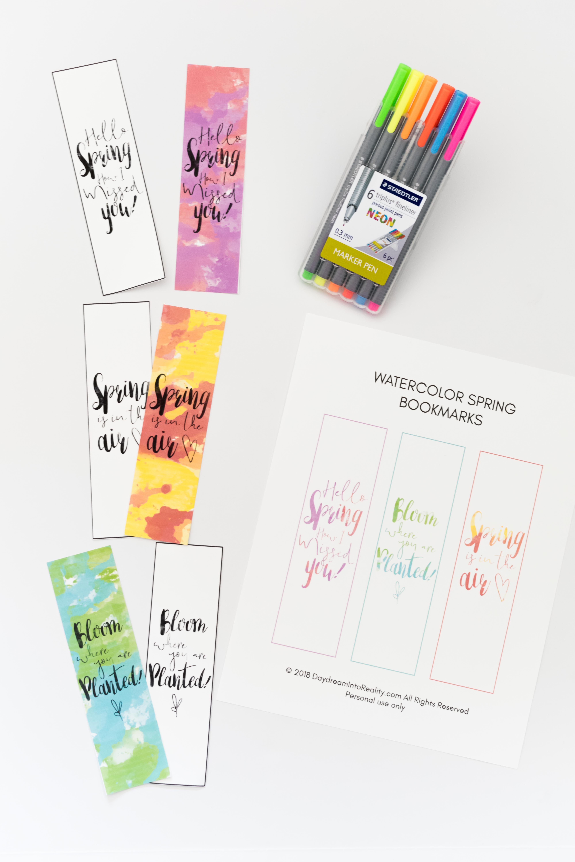 Watercolor Spring Bookmarks Free Printable - Free Printable Spring Bookmarks