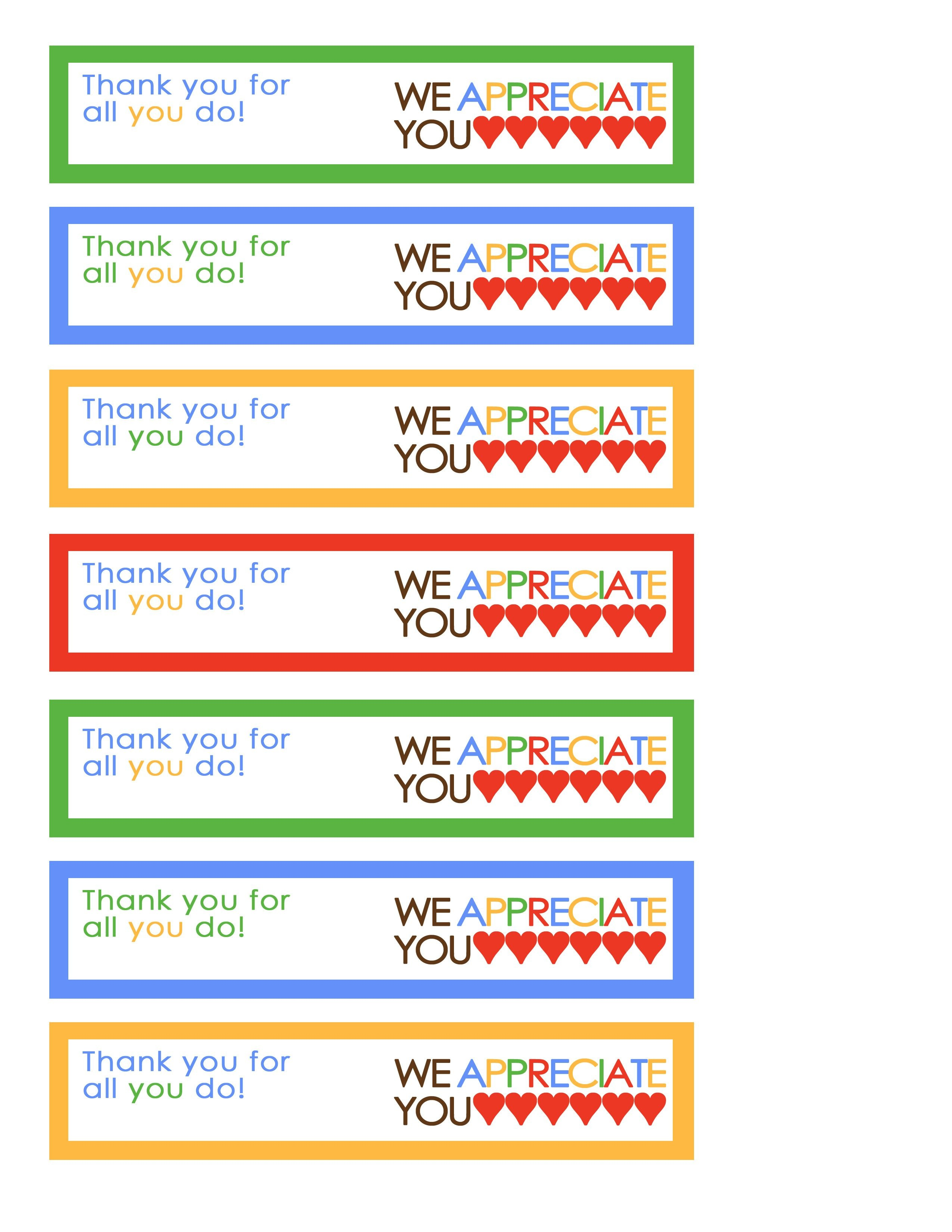 We Appreciate You Tags Rainbow | Miscellaneous | Volunteer - Free Printable Lifesaver Tags