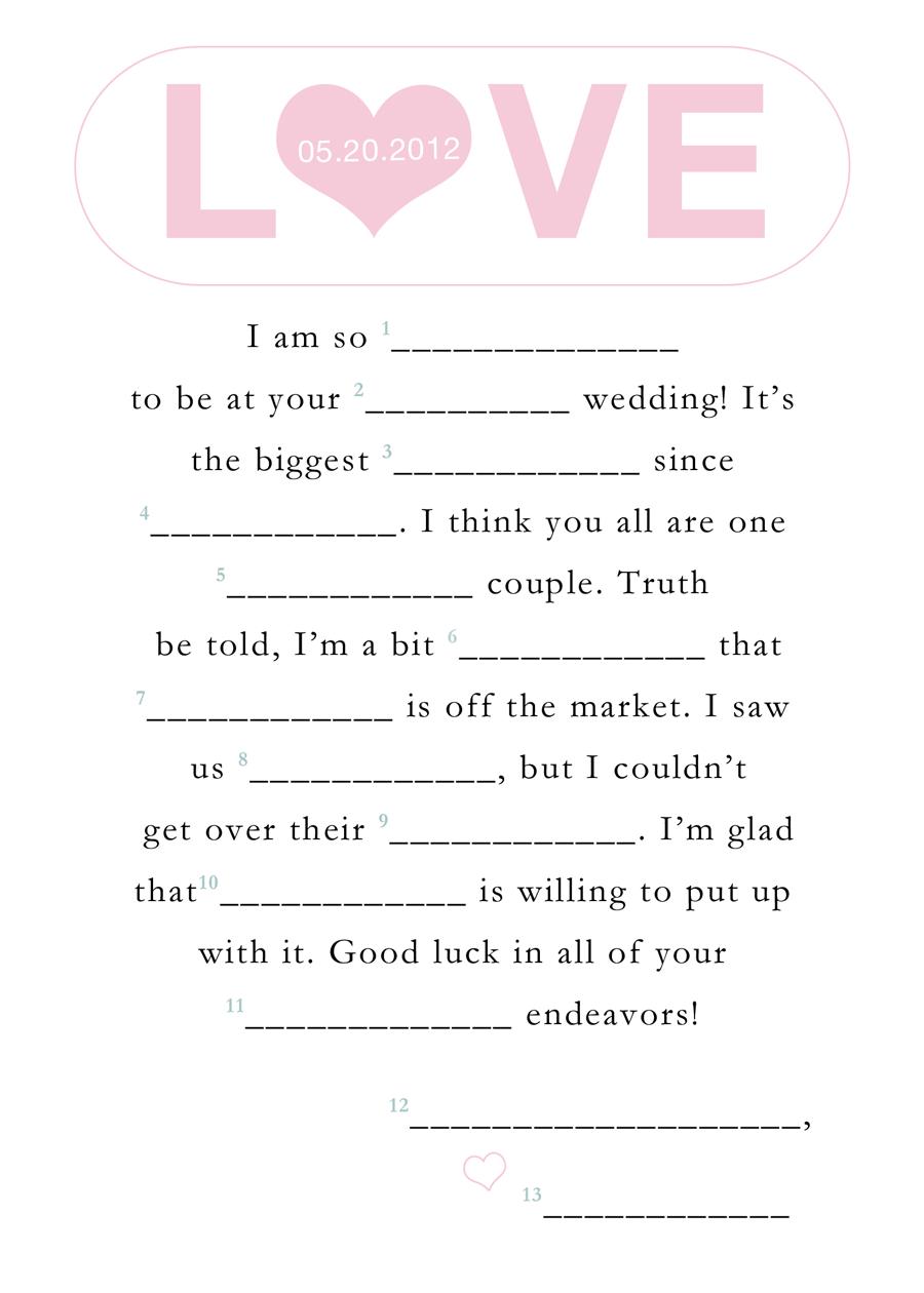 Wedding Mad Lib Template. Free Printable Bridal Shower Mad Libs - Free Printable Wedding Mad Libs