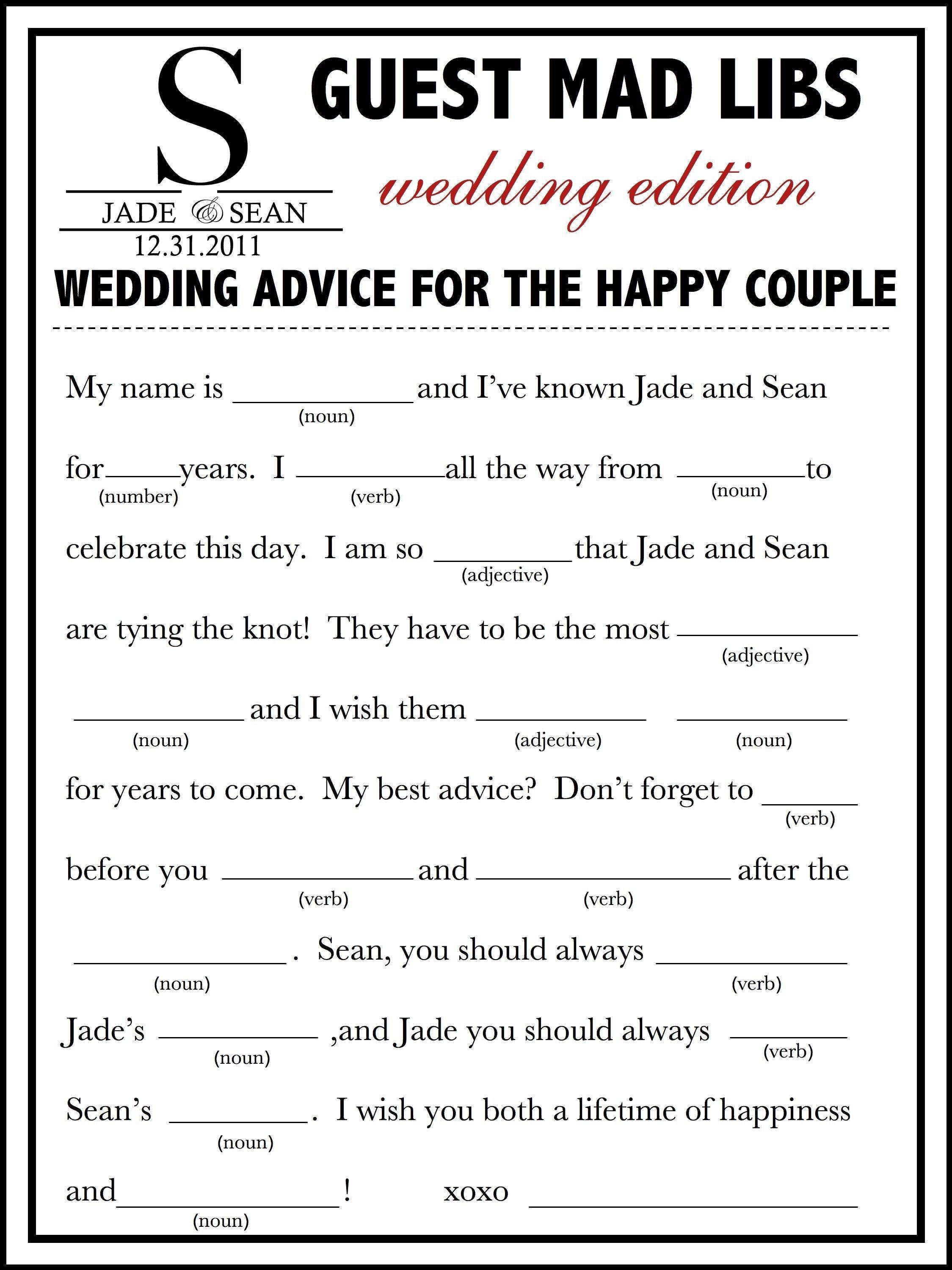 Wedding Mad Libs Template Free | Fun Unique Guest Book Alternative - Free Printable Wedding Mad Libs