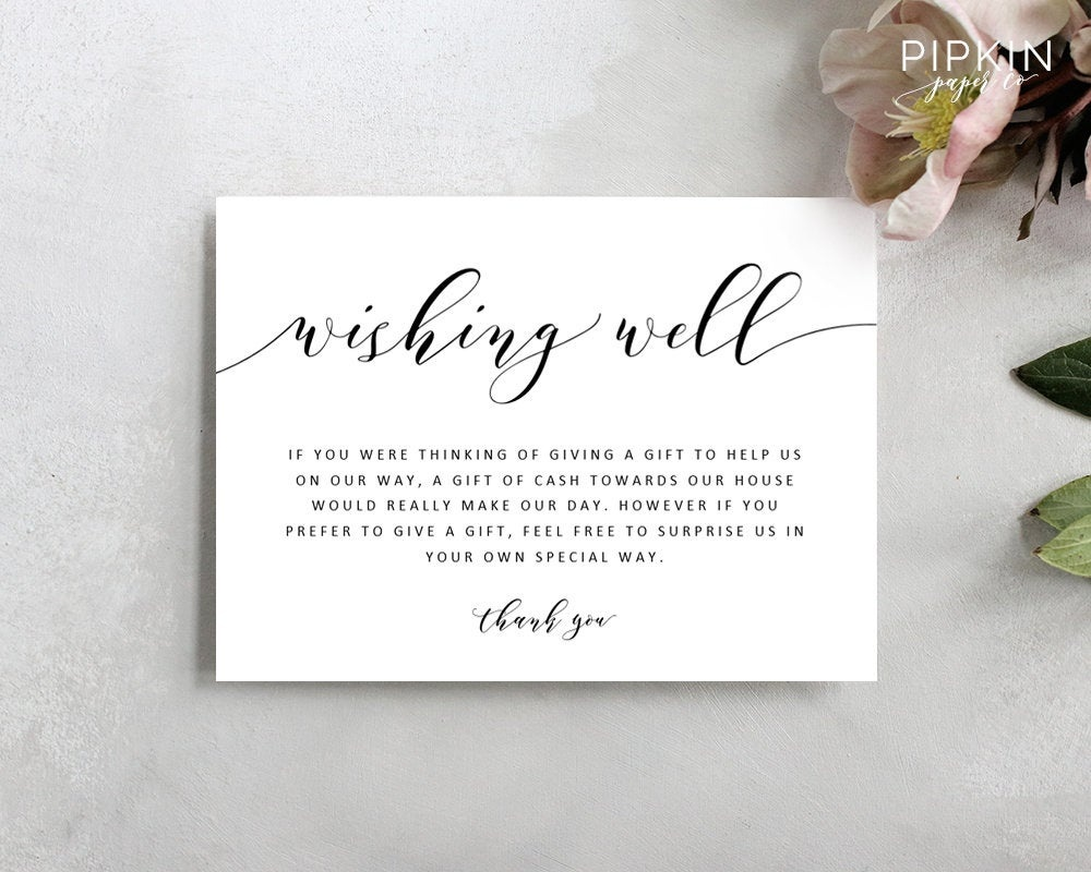 Wedding Wishing Well Template Printable Wishing Well Card | Etsy - Free Printable Enclosure Cards