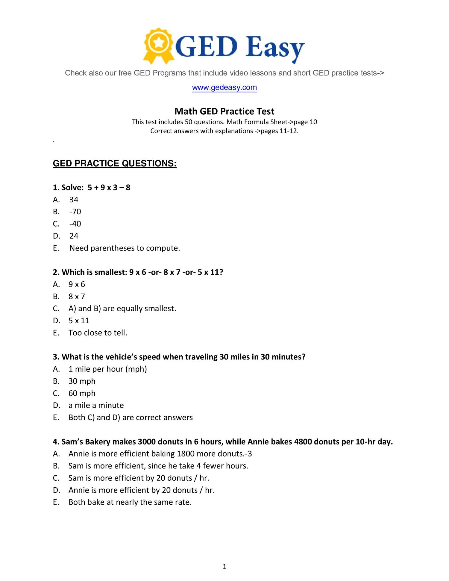Week 15 Homework Adv Math- Printable-Ged-Math-Practice-Test2- Do The - Free Printable Ged Practice Test With Answer Key