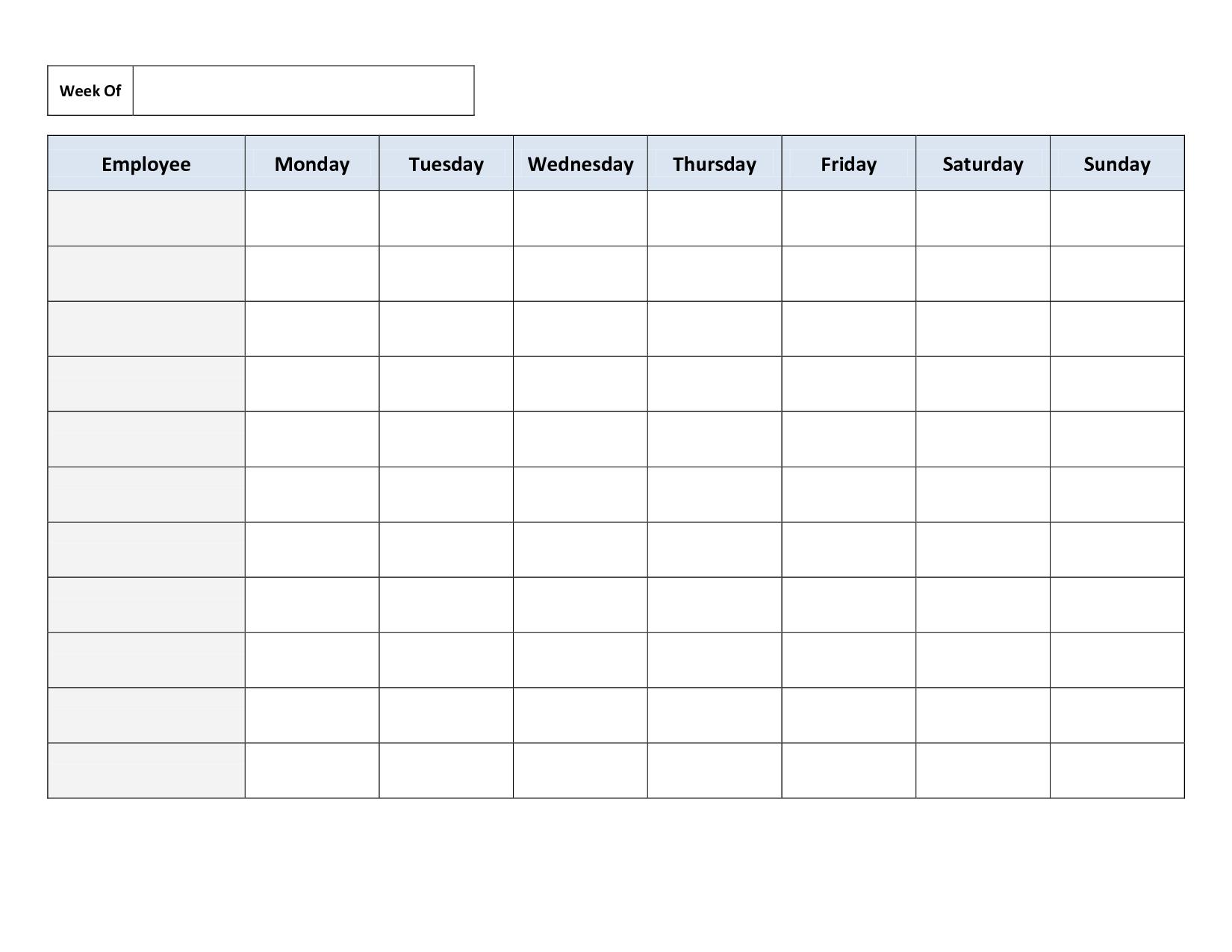 Weekly Employee Work Schedule Template. Free Blank Schedule.pdf - Free Printable Documents