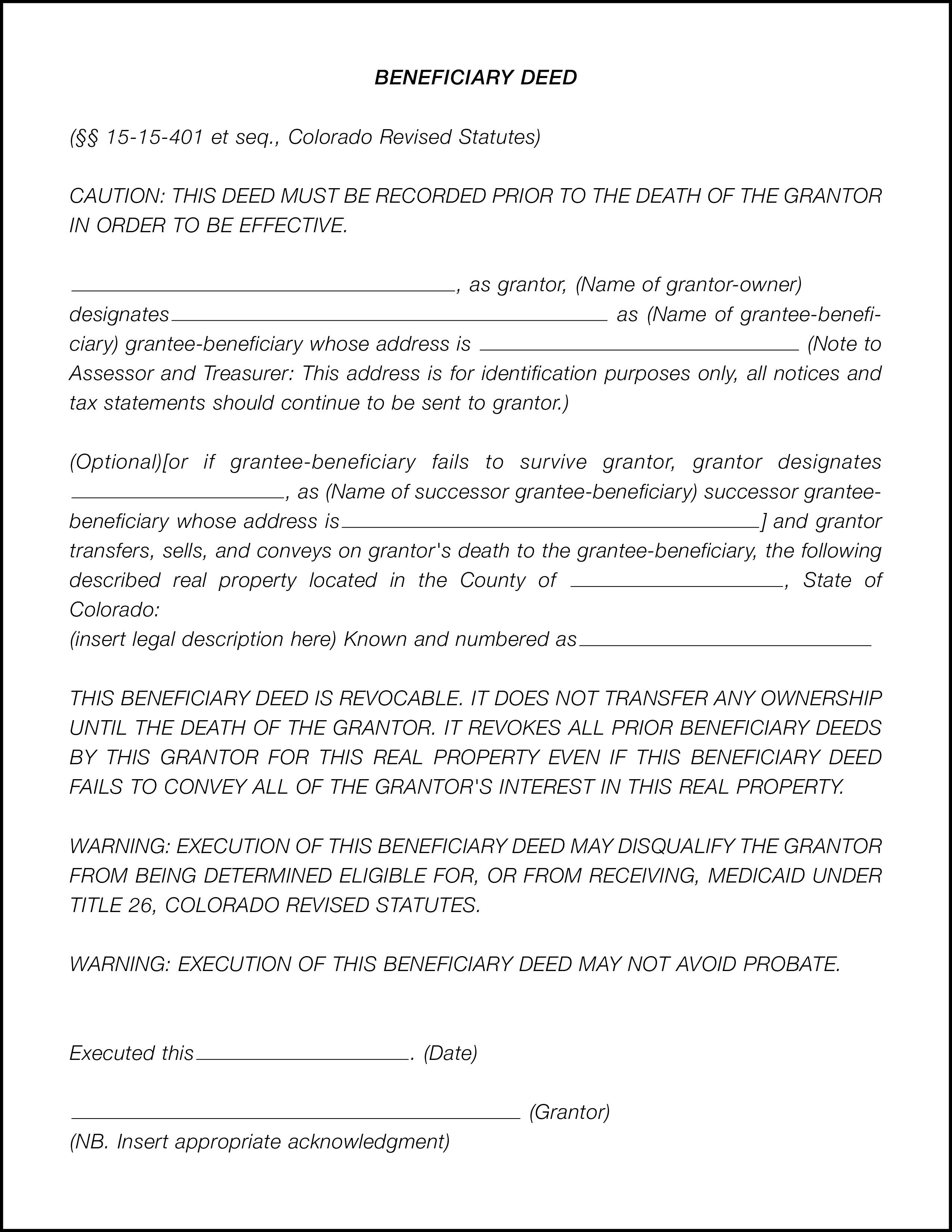 What Is A Beneficiary Deed? - Land Title Guarantee Company | Land - Free Printable Beneficiary Deed