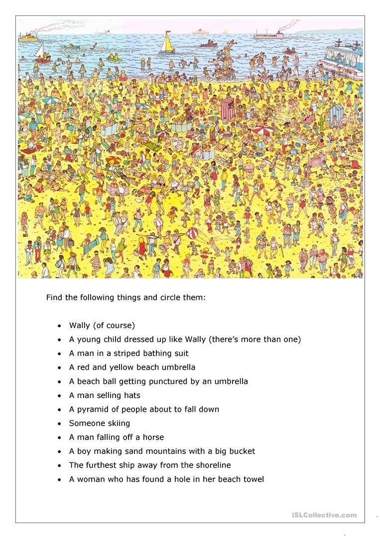 Where's Wally / Focusing On A Task Worksheet - Free Esl Printable - Where Waldo Printable Free