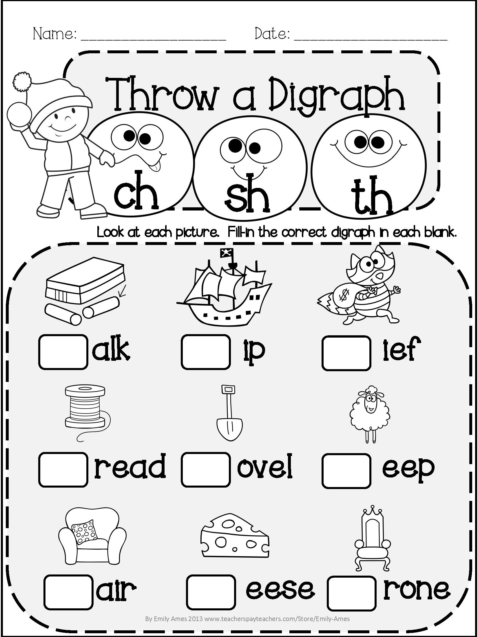 Winter Literacy Fun: Short & Long Vowels, Digraphs And Blends - Free Printable Ch Digraph Worksheets
