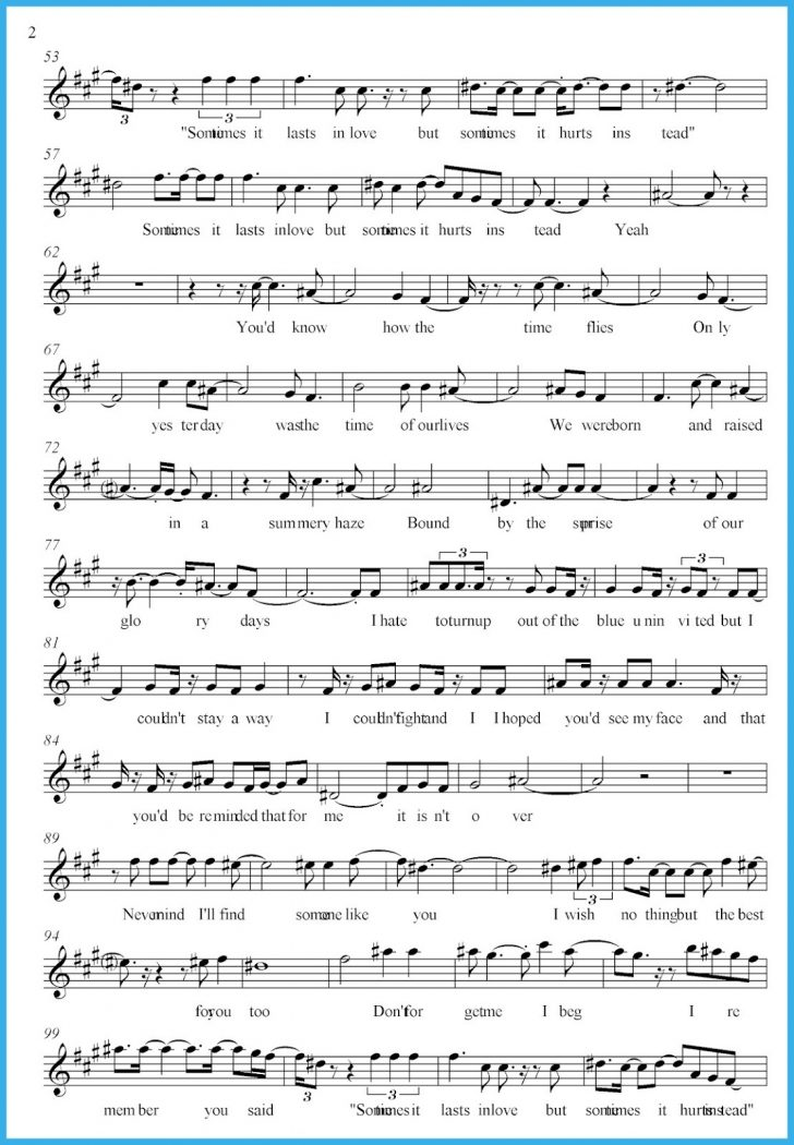 Free Printable Sheet Music Adele Someone Like You